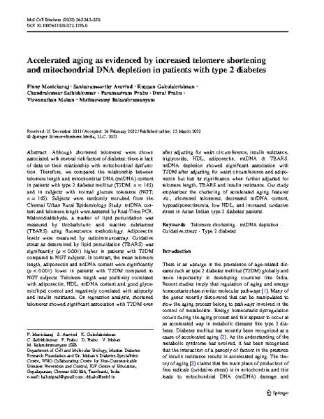 Aging_TL_shortening_mithocondrial_DNA_depletion_type_2_Diabetes.M_Balasubramanyam.Mol_Cell_Biochem_2012