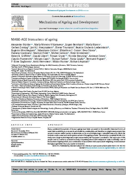 Biomarkers_Aging.Alexander_Bürckle.Mechanisms_Aging_Development_2015