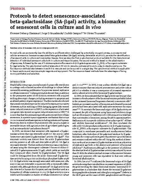 Protocols to detect senescence-associated beta-galactosidase_Debacq-Chainiaux et al_Nature2009