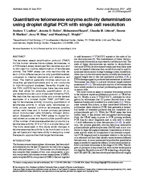 Q-telomerase enzyme activity determination_Digital PCR.E.Wright_NucleicAcids_2014