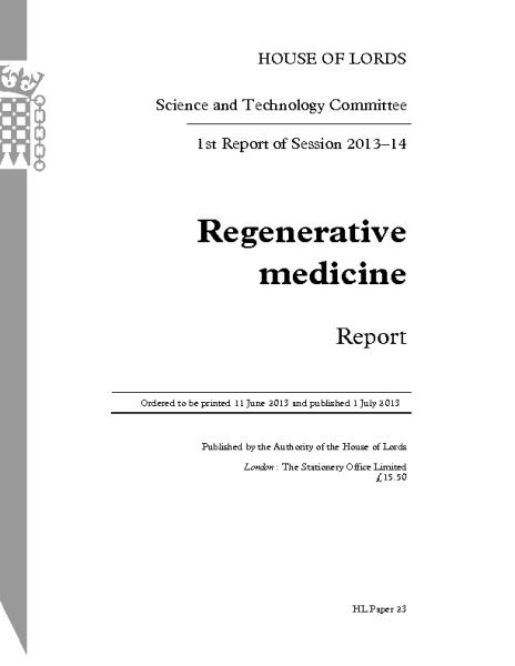 Regenerative_Medicine_Report_HouseofLordsUK_2013