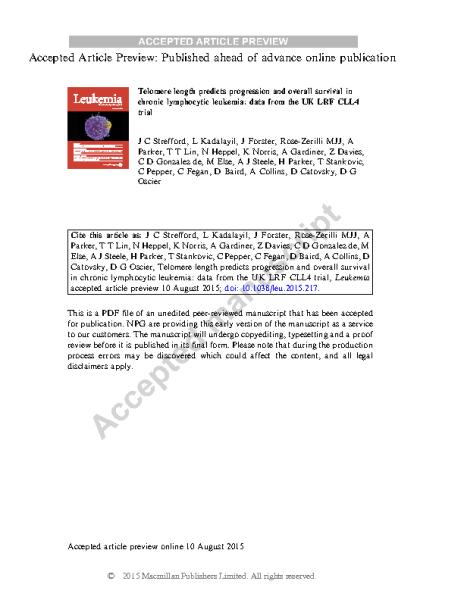 TL_predicts_progression_in_CLL_StreffordJC_Leukemia_2015