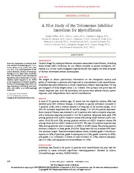 Telomerase_Inhibitor_Imetelstat_for_Myelofibrosis_TefferiA_NEJM_2015