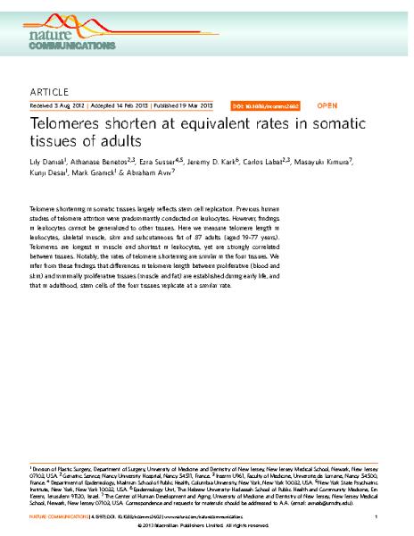 Telomere equivalence in tissues_Daniali et al_Nature 2013