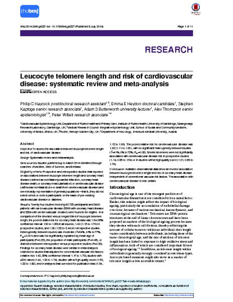 Telomeres and Cardiovascular Disease. P C Haycock. BMJ. 2014